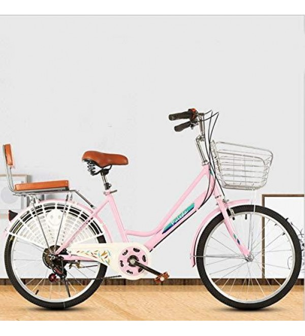 GFTA 【US Spot】 Womens Beach Cruiser Bike-26 Inch Unisex Classic Iron Bicycle with Basket & Back Seat Retro Bicycle Unique Art Deco Scooter,Road Bike,Seaside Travel Bicycle,7 Speed, 26-inch Wheels