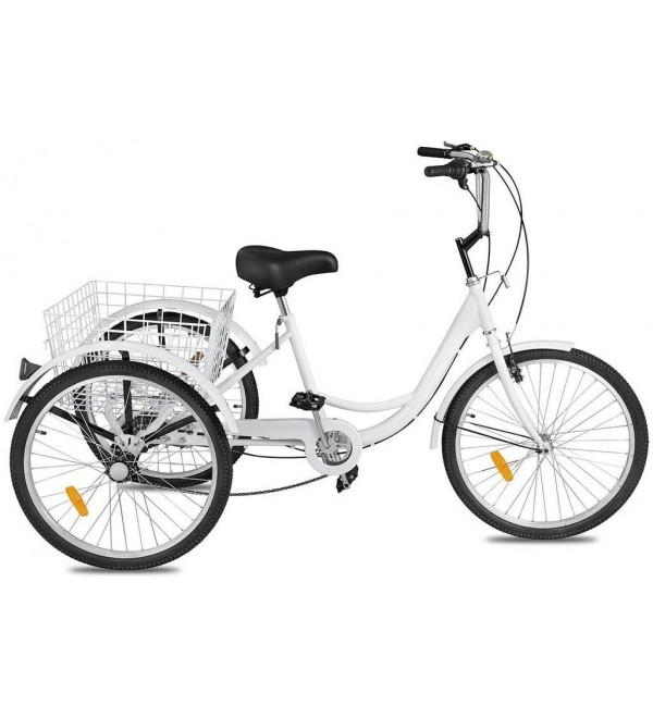 24 Inch 7 Speed Adult Tricycle, Three-Wheeled Adult Mountain Tricycle Cruiser Trike Bike with Front V Brake MTB Tire Bicycle with Large Basket for Men&Women&Seniors&Youth