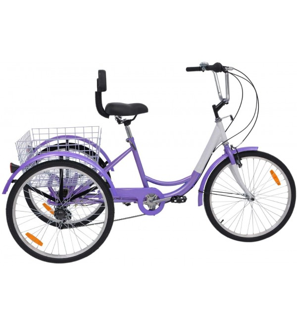 Slsy Adult Tricycles 7 Speed, Three-Wheeled Bicycles 24 inch