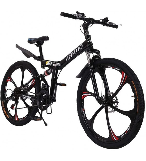 26 Inch Mountain Bike with 21 Speed Dual Disc Brakes Full Suspension Non-Slip(Shipped from The US) (Black)