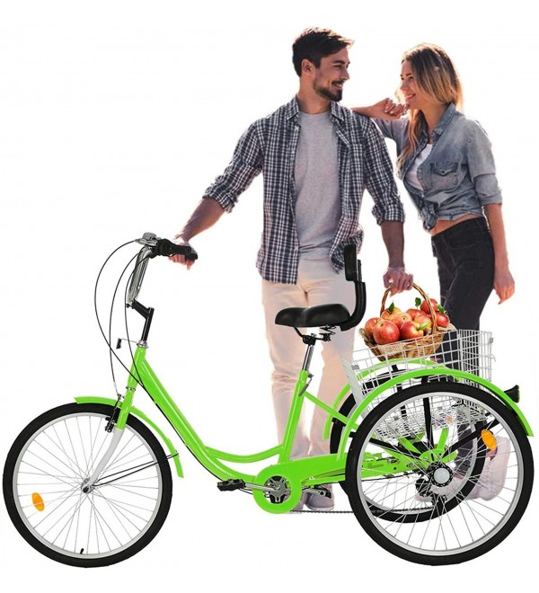 24 inch Adult Tricycle, 1/7 Speed 3 Wheel Bike, Adult Tricycle Trike with Full Assembly Tool, Cruise Bike Large Size Basket for Recreation Shopping