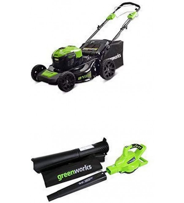 21-Inch 40V Self-Propelled Cordless Lawn Mower with 40V 185 MPH Variable Speed Cordless Blower Vacuum Battery Not Included 24312