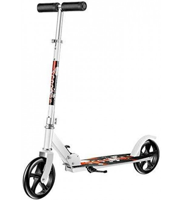 CFJKN Adult Scooters with Big Wheels, Folding Adjustable Commuter Scooter with Rear Fender Brake Adult Scooter (Non-Electric) for Teens,White_86x21x100cm