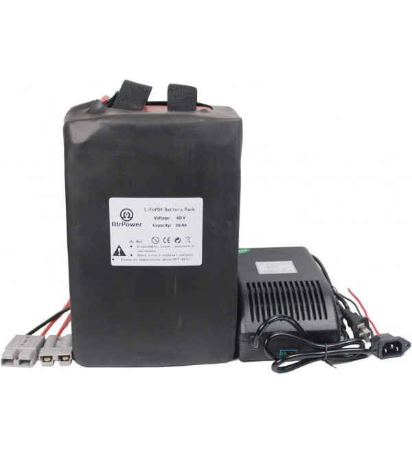60V Ebike Battery 20AH / 25AH / 30AH / 35AH Lithium ion Battery Pack with 5A Charger + 50A BMS for 1500W Electric Bicycle Scooter Motor (60V 20AH)