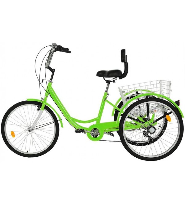 3-Wheeled Bicycle 1/7 Speed Tricycle, Cruiser Bikes for Kids Adults, with Adjustable Cushion Seat, Storage Baskets, Comfortable, Safe, Durable, Convenient